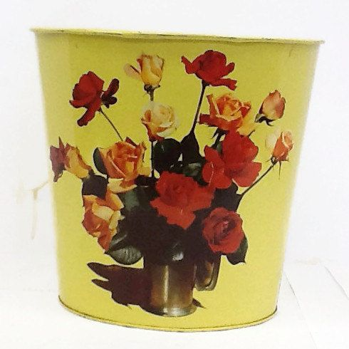 Chippy Metal Trash Can. Bathroom Trash Can. Yellow Floral Trash Can By  Callmeclevervintage On