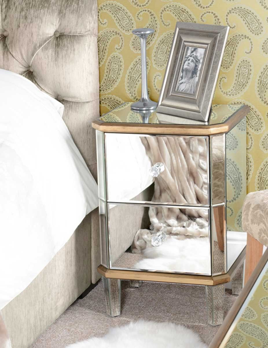 Mirrored Bedside Table With Drawers: Mirrored Furniture Bedside Table Cabinet 3