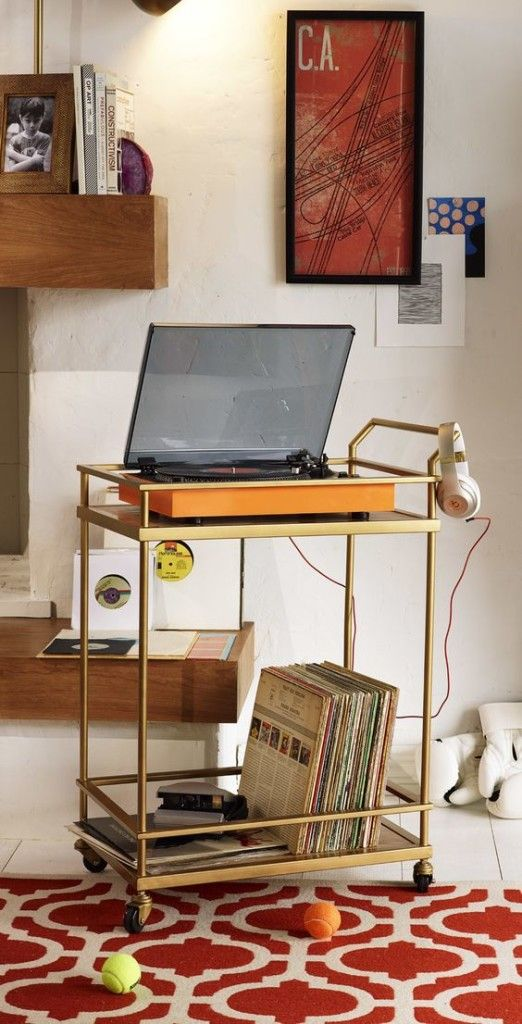Use a bar cart for your record player :)