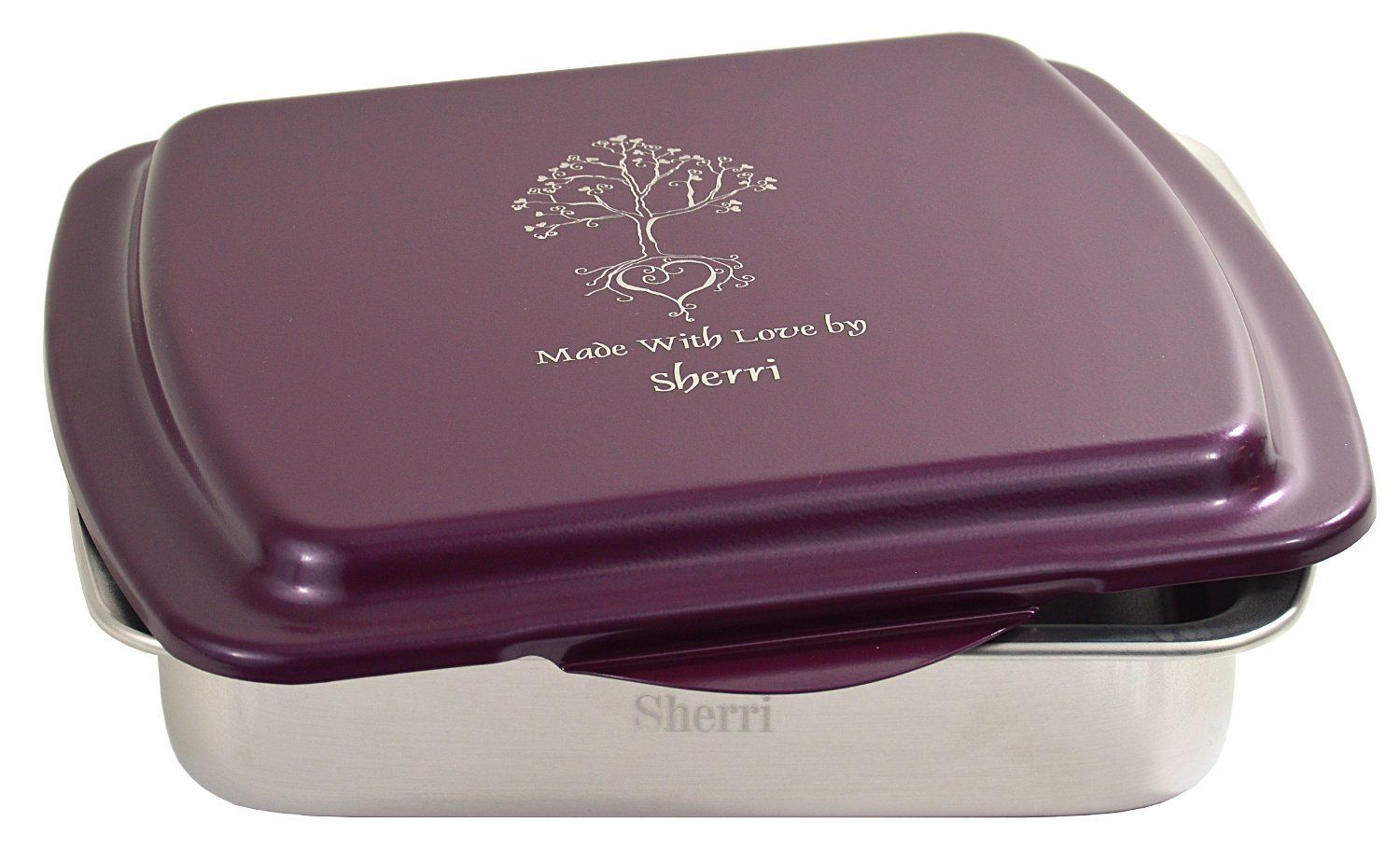Beautiful personalized 9 x 9 cake pan and laser engraved