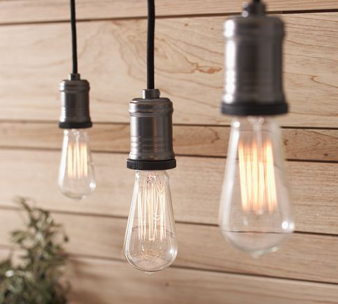Exposed Bulb Pendant Track Lighting Pottery Barn Living Room