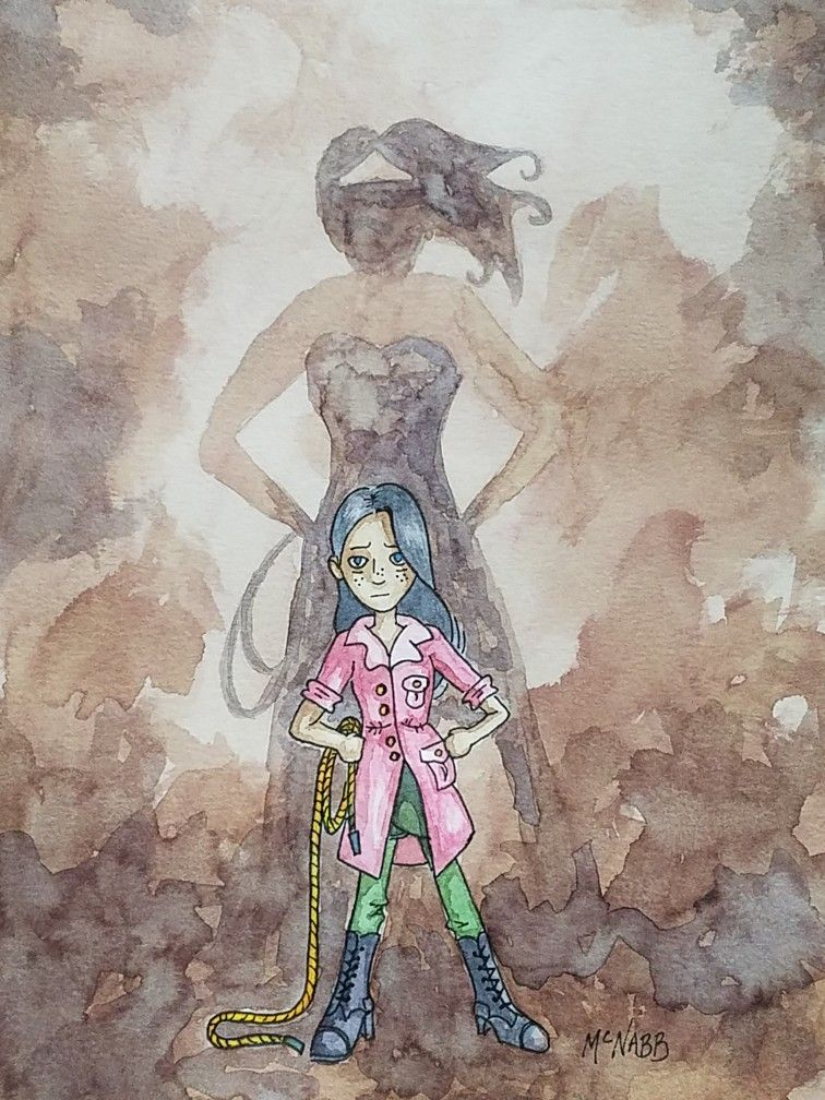 Wonder Woman Watercolor Painting Little Girl Pretending -2440