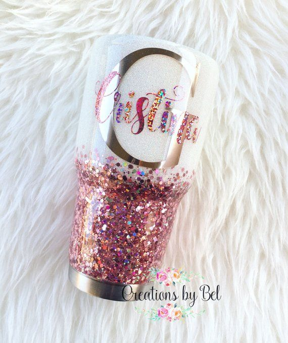 Glitter Tumbler Designed With First Letter Of Name In