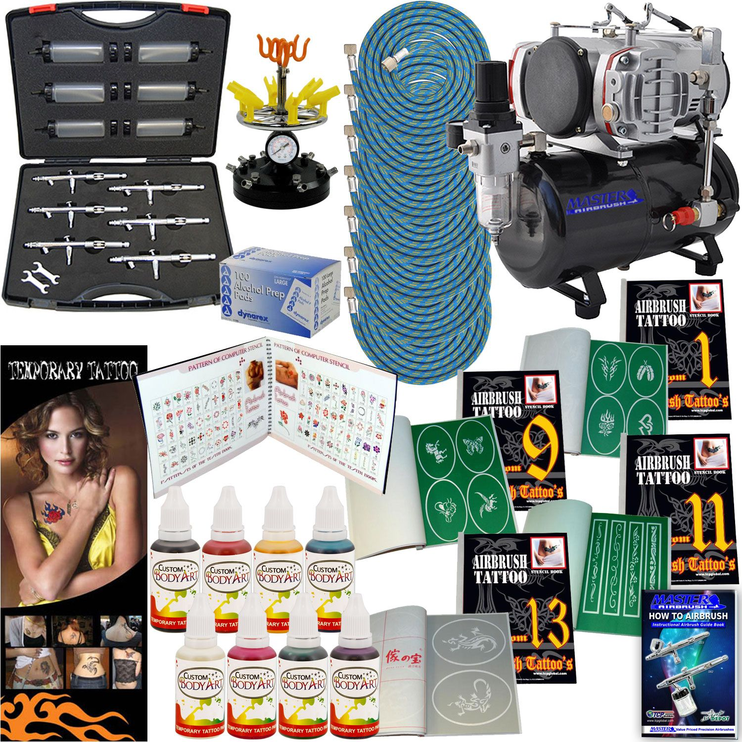Ultimate 6 Airbrush Tattoo Kit With 8 Different Colors Of