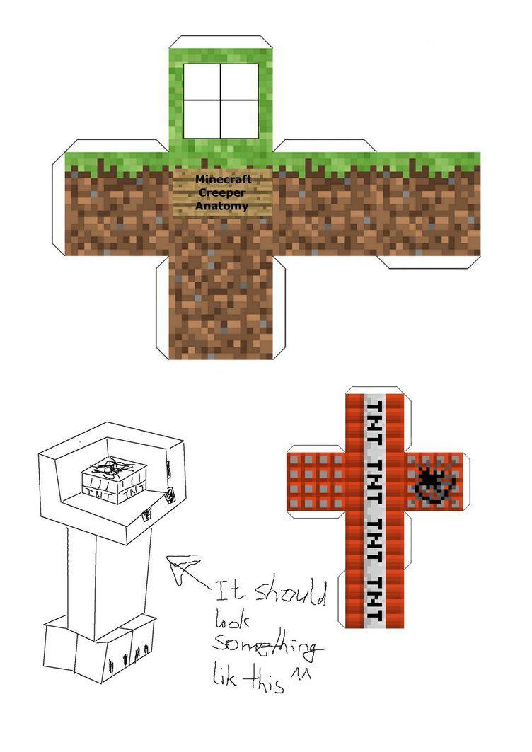 Papercraft Creeper Anatomy Minecraft Party Pinterest