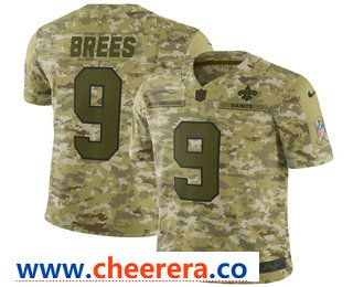 e6ec9ebb7 Men s New Orleans Saints  9 Drew Brees 2018 Camo Salute to Service Stitched  NFL Nike Limited Jersey