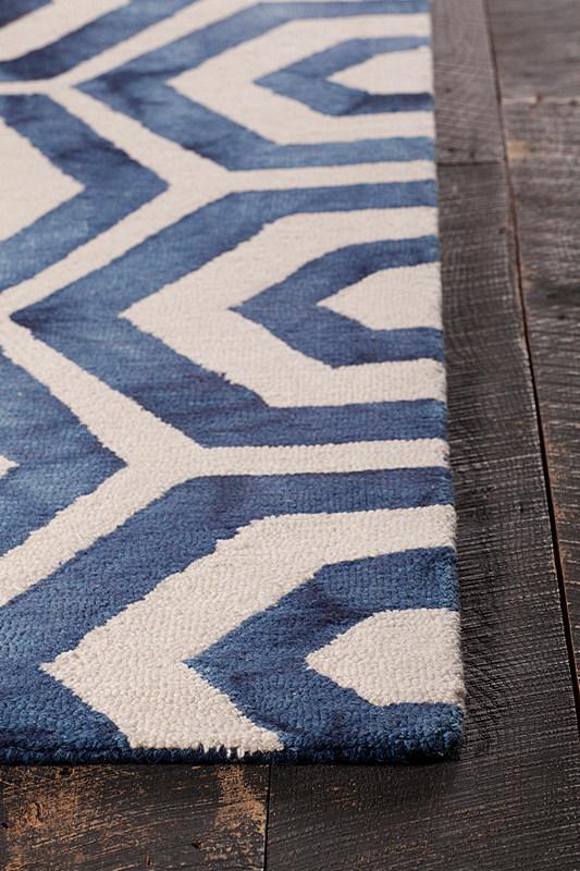 Chandra Elvo Elv33901 5 0 X 7 6 Blue White Area Rug Wool