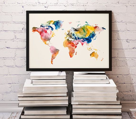 Watercolor print poster illustration world by watercolormood watercolor print poster illustration world by watercolormood world map art flat gumiabroncs Gallery