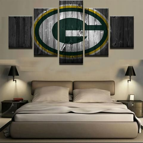 Green Bay Packers Nfl Football 5 Panel Canvas Wall Art Home Decor