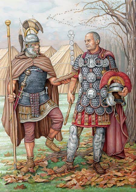 Soldato e centurione romani, 100 d.C.