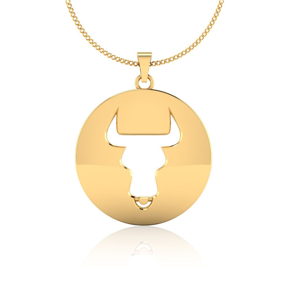 Fine k yellow gold taurus may zodiac sign horoscope pendant