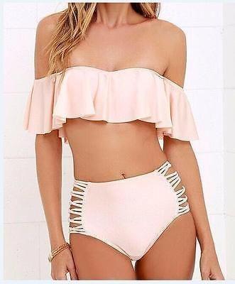 38ae79896278 Off Shoulder Swimsuit Solid Bikini Wire Free Swimwear Set Women High Waist  Bathing Suit Ruffle Two Piece Beachwear Halter