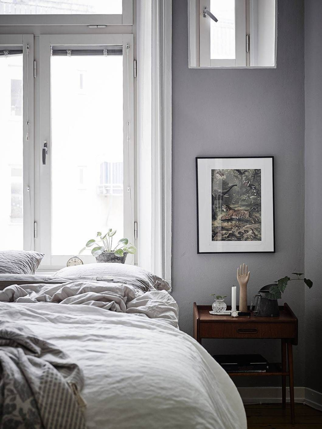 Grey accents and white floor via