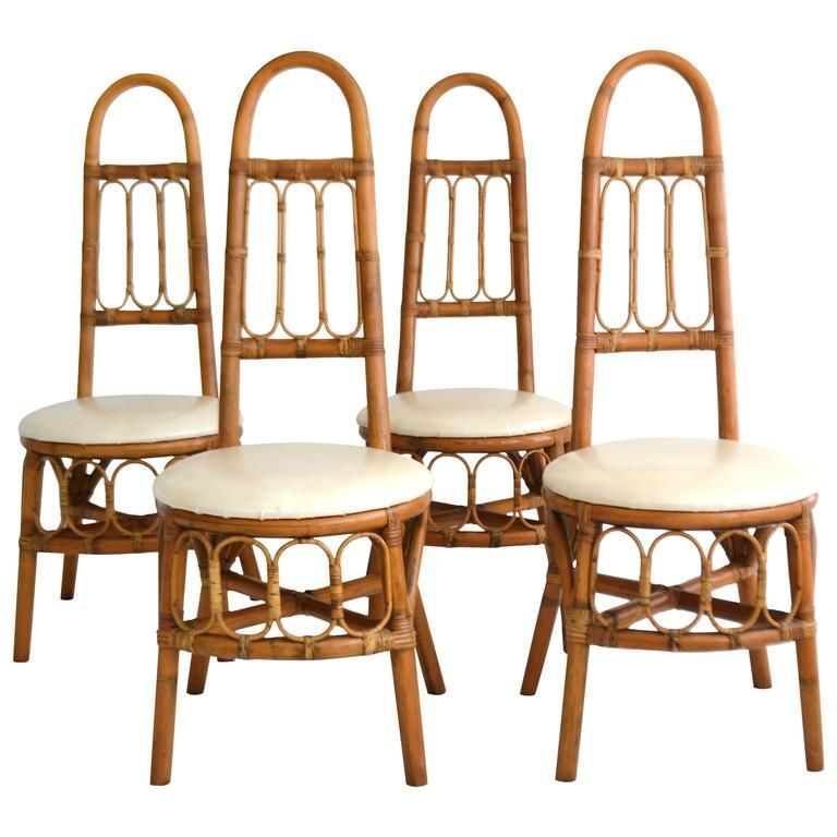 Set Of Four Mid Century Bent Bamboo Game Table Chairs / Side Chairs