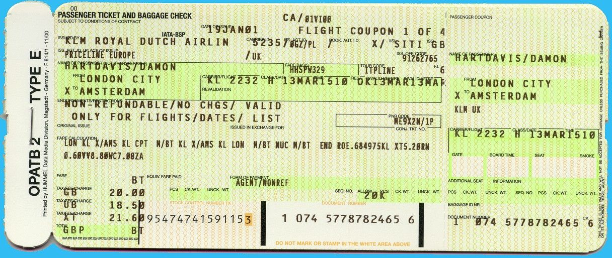 Klm Ticket Vintage Airline Inspiration Pinterest