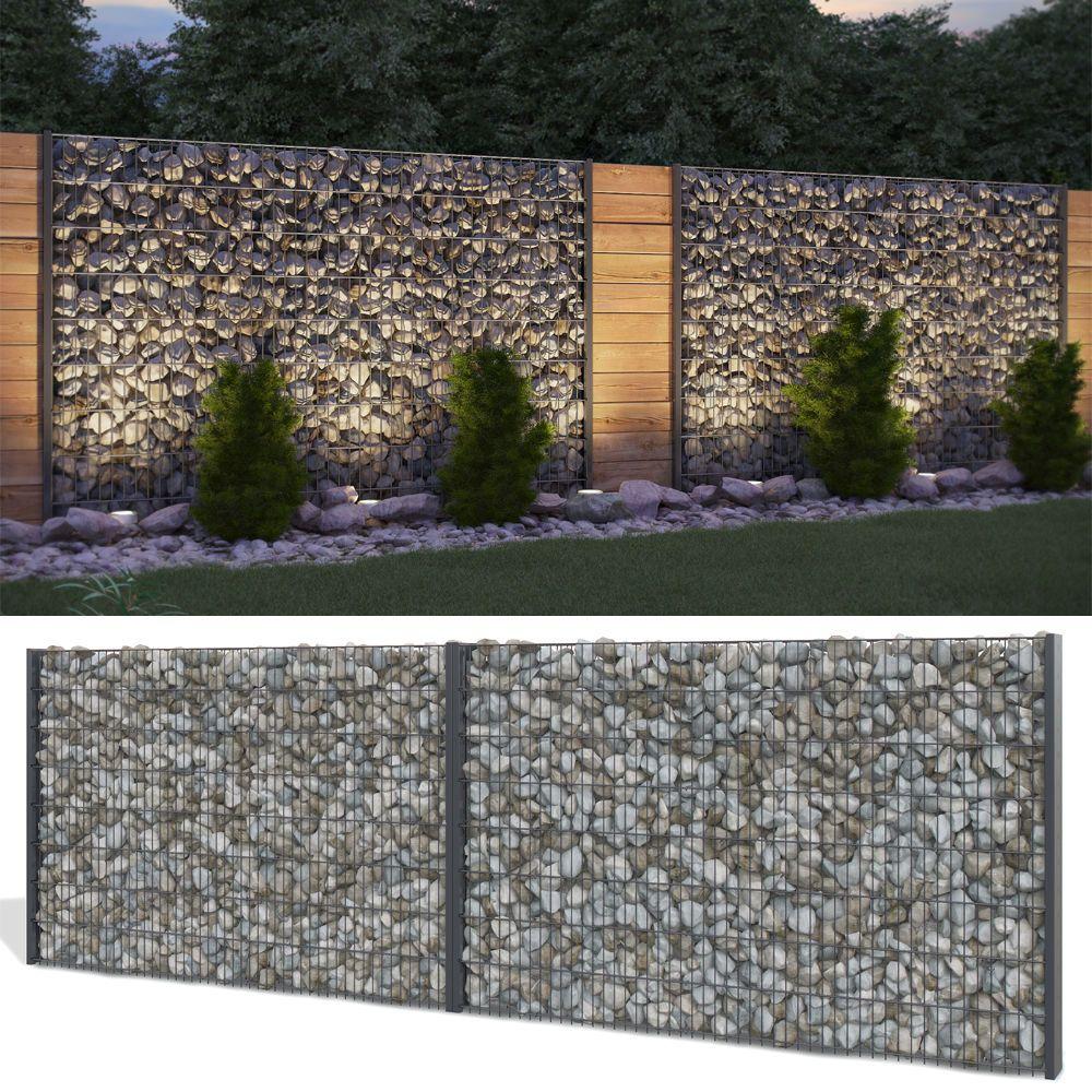 details zu gabione steinkorb sichtschutz 1630mm anthrazit, Wohnzimmer dekoo