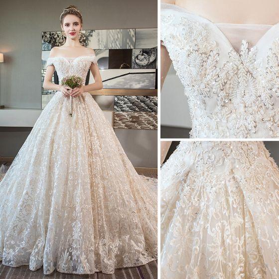 77d24d20b7334 Luxury / Gorgeous Champagne Wedding Dresses 2018 A-Line / Princess ...