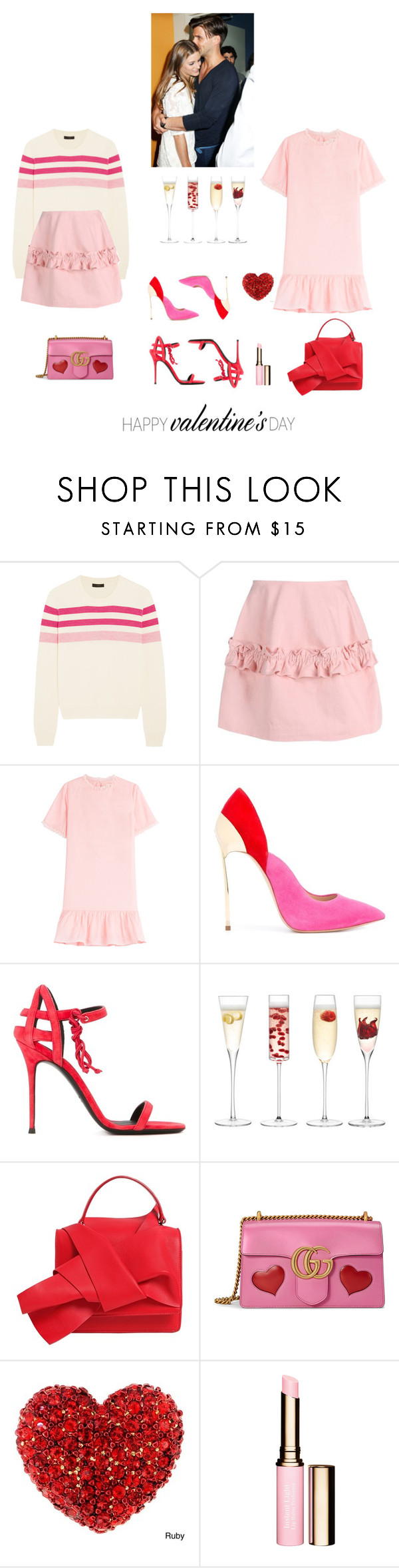 """Hearts all over the world tonight"" by rikka-alicia ❤ liked on Polyvore featuring J.Crew, Vanessa Bruno Athé, Casadei, Giuseppe Zanotti, LSA International, N°21, Gucci, Pink, red and OliviaPalermo"