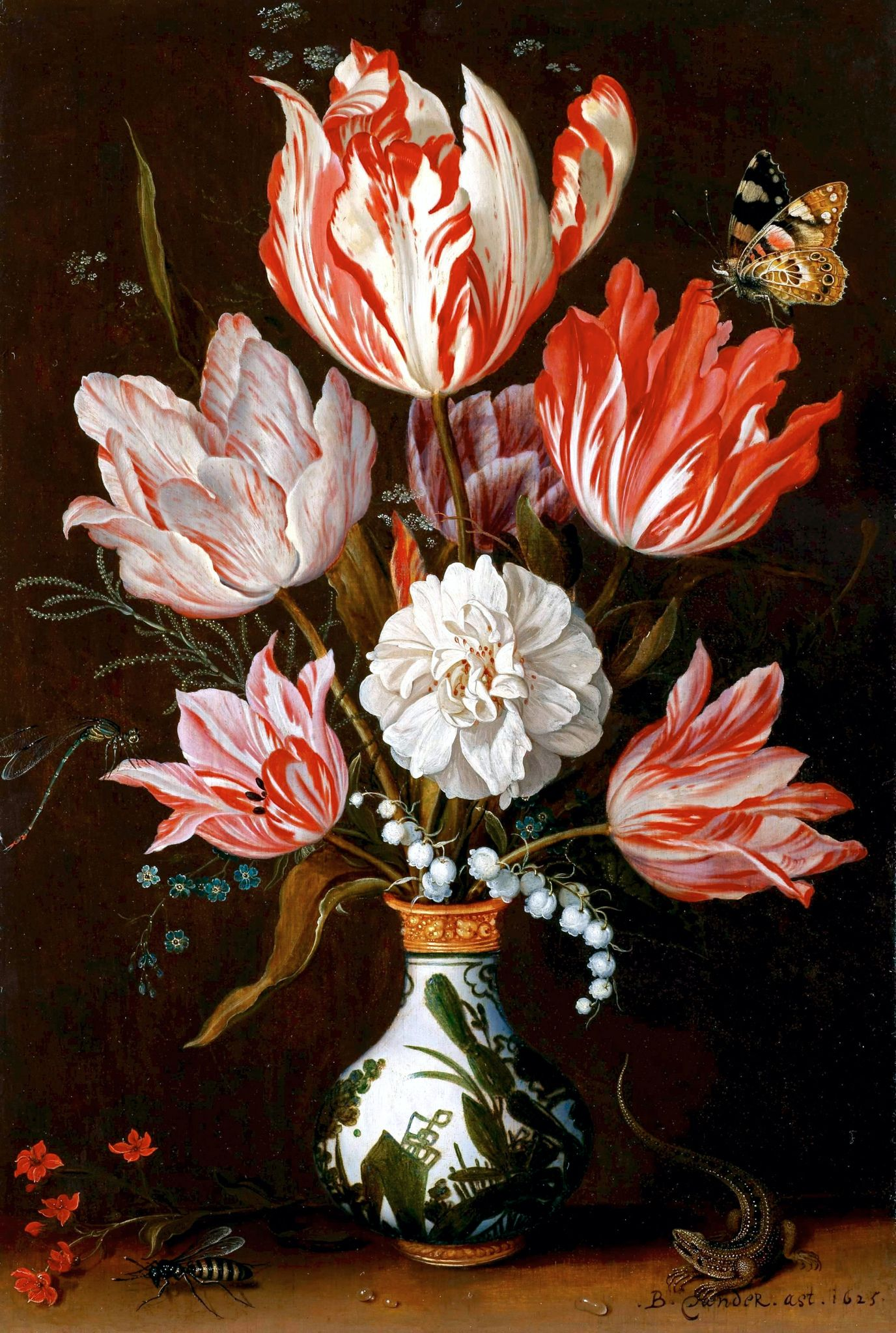 A Still Life Of Tulips And Other Flowers In A Ceramic Vase 1625 Botanical Art Flower Painting Art