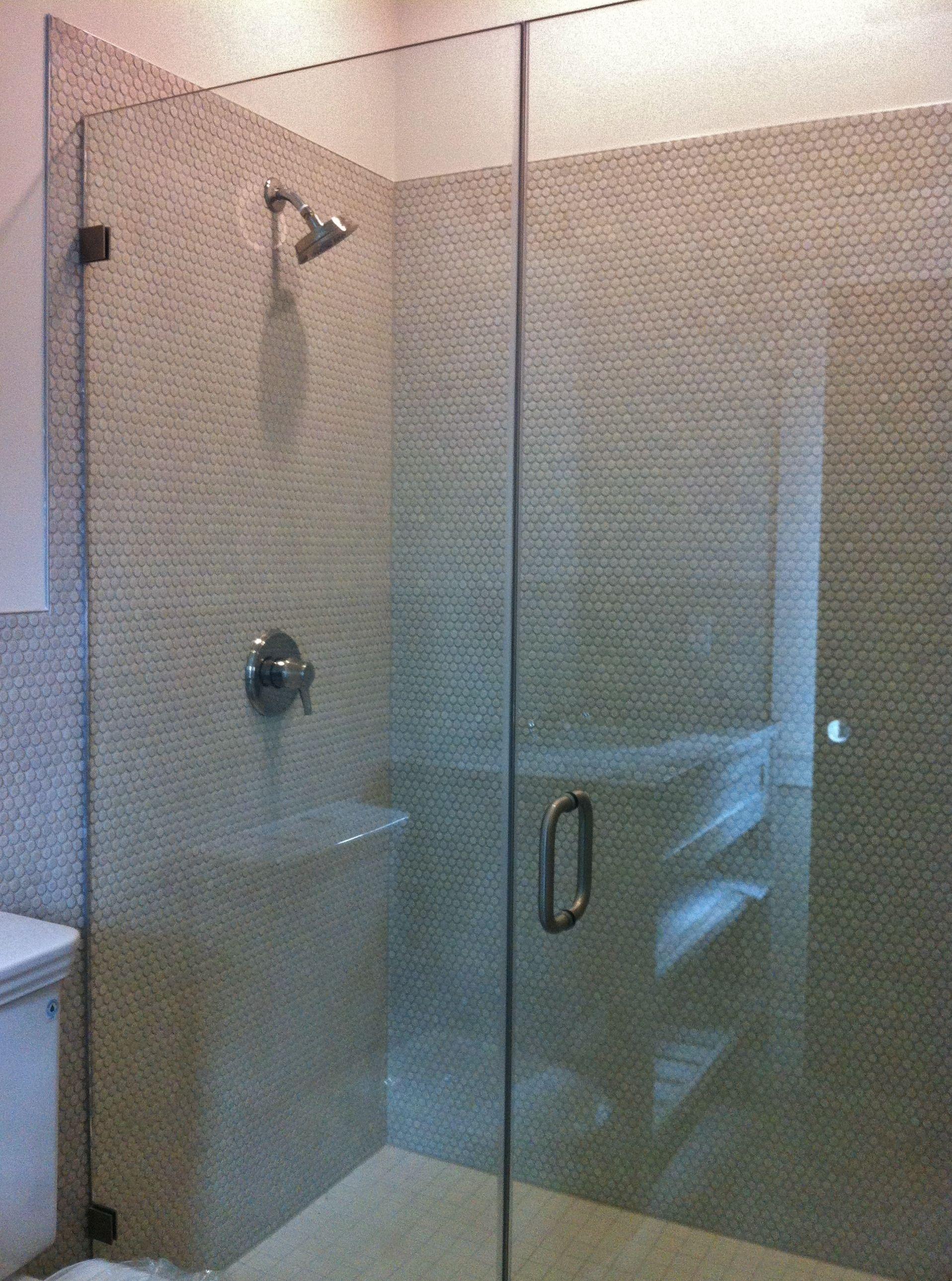 Penny Round Tile On Shower Walls Tile Jobs We Ve Done In