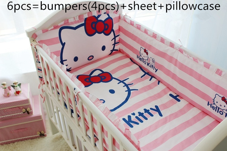 43.80$  Watch now - http://ali57v.worldwells.pw/go.php?t=32528471080 - Discount! 6/7pcs Hello Kitty Baby bedding sets Applique Crib Sets Cot Bumper ,120*60/120*70cm 43.80$