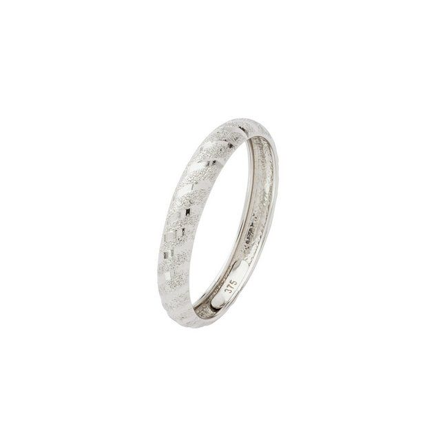 Buy 9ct White Gold Diamond Cut & Satin Twist Wedding Ring 3mm at