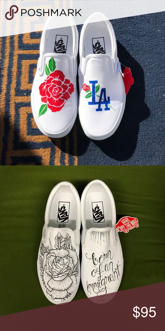 0cf5278215 WOMEN S  Custom HAND PAINTED Vans Slip Ons Hand painted