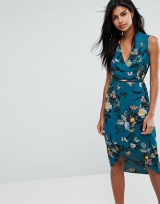 02f2cc0e09 Oasis Floral Wrap Midi Dress