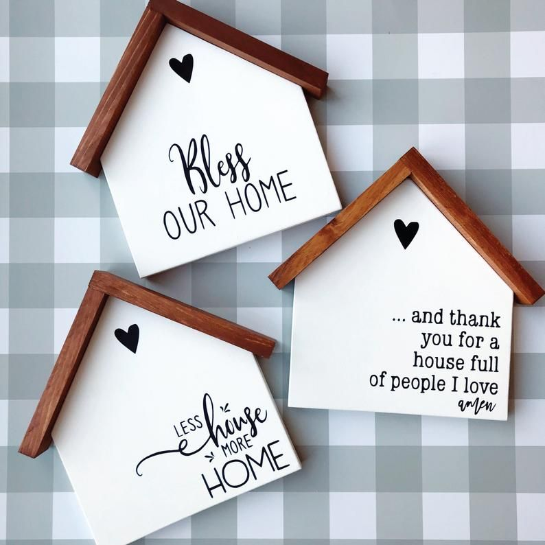 Wood House Decorative Sign, House Shaped Wood Sign, Bless Our Home Sign, Less House More Home Sign, Farmhouse Home Sign, Family Sign