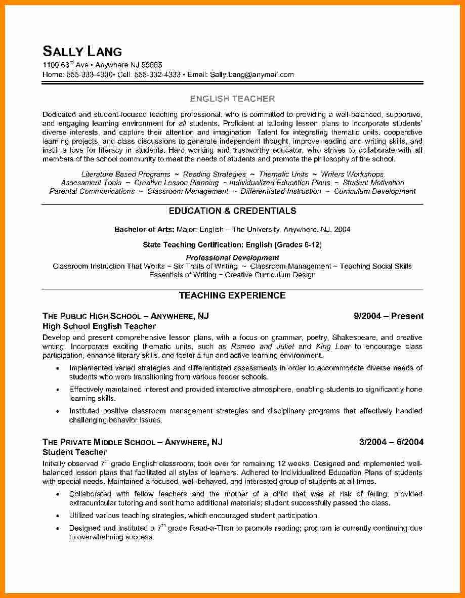 Esl Teacher Job Description Resume Fresh Esl Teacher