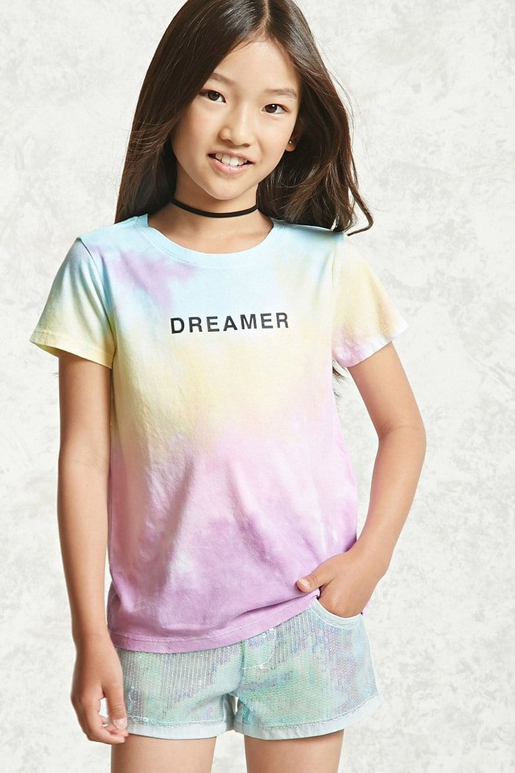 fddc99009db Forever 21 Girls - A soft knit tee featuring an allover tie-dye print
