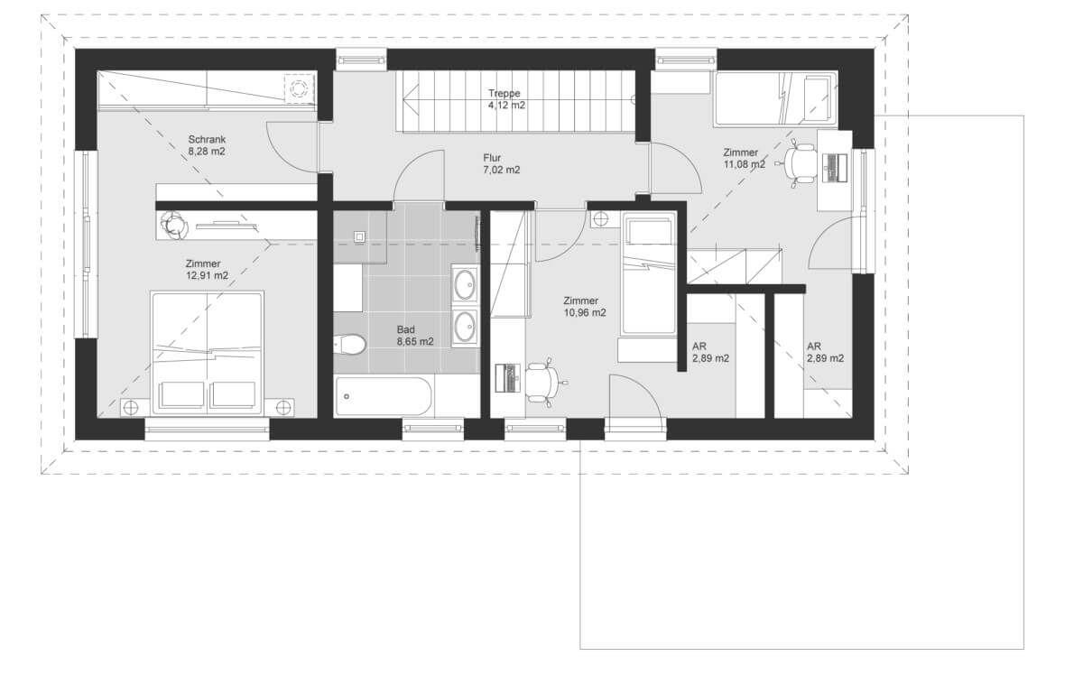Einfamilienhaus schmal Grundriss Obergeschoss mit Walmdach