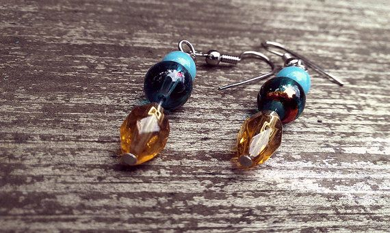 Blue and Gold Serenity Dangle Earrings by thedragonsdencrafts