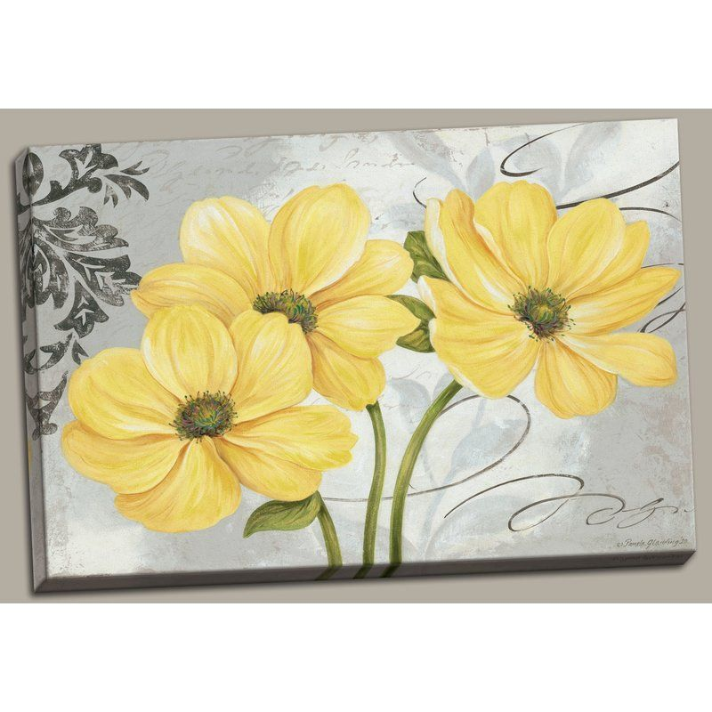 Colori Yellow I Beautiful Gray And Yellow Floral Acrylic Painting