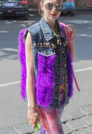 Hand Painted Denim Vest studded feather Fur unicorn print