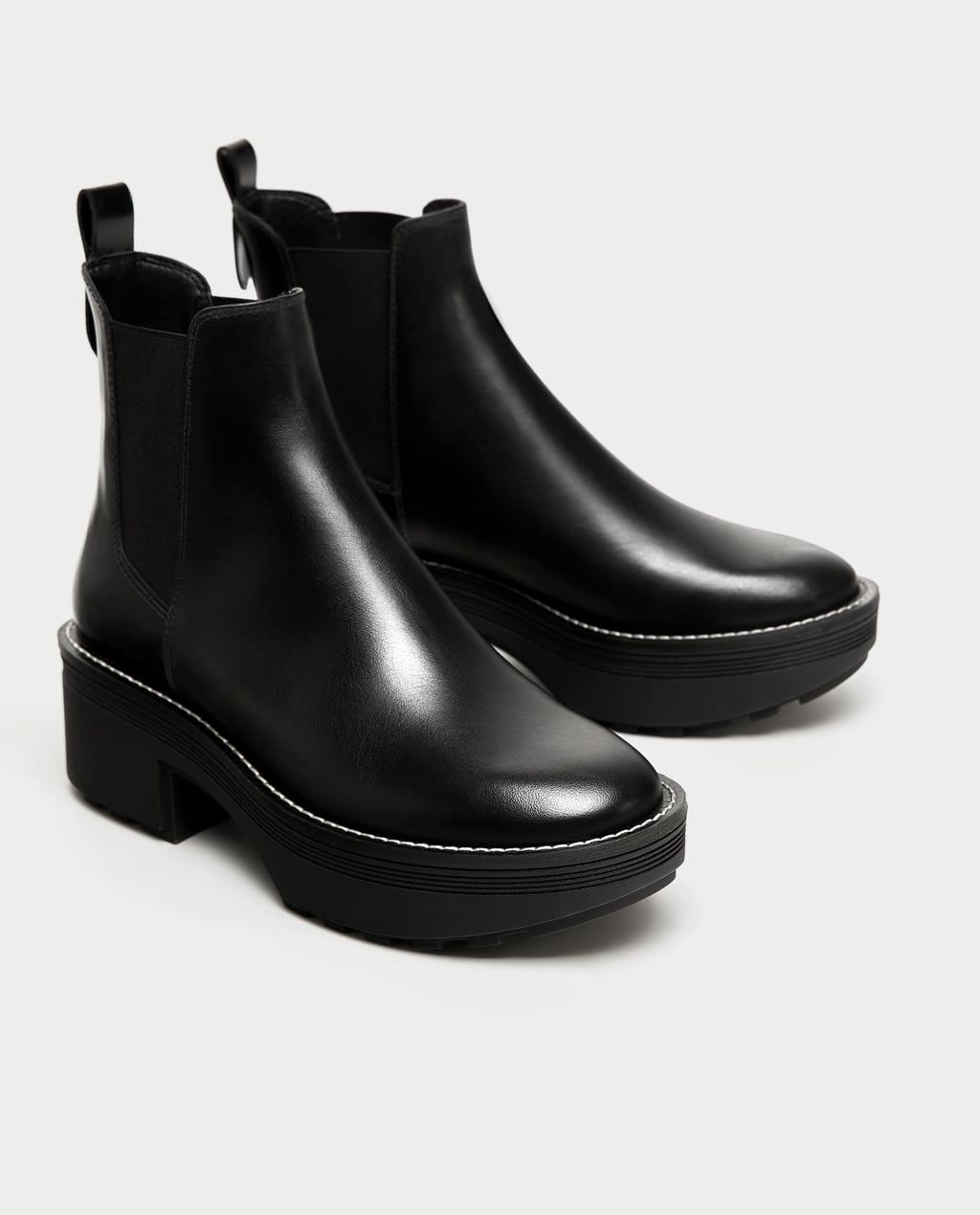 708214cdc21 FLAT LEATHER ANKLE BOOTS WITH TRACK SOLE-SHOES | ACCESSORIES-SALE-WOMAN |  ZARA United States