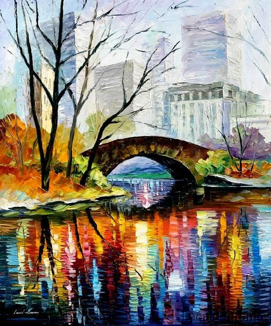 Central Park Nyc By Leonid Afremov What A Beautiful City I Especially Love Its Closeness Oil Painting Landscape Oil Painting On Canvas Easy Canvas Painting