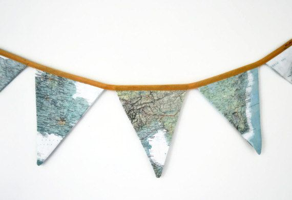Vintage map bunting fabric world map banner flags explorer theme vintage map bunting fabric world map banner flags explorer theme nursery gender neutral baby gumiabroncs Images