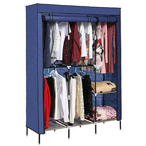 Anfan Clothes Closet Portable Wardrobe Clothes Storage Rack With Shelves Fabric Cover Storage Closet Shelving Portable Wardrobe Closet Wardrobe Closet Storage