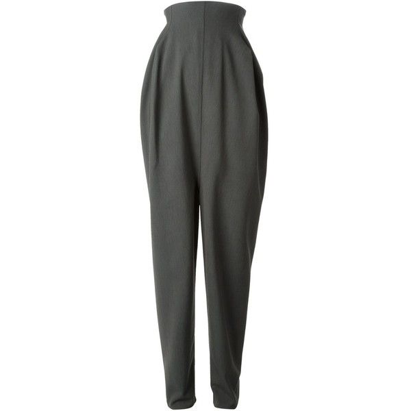 Rick Owens wide leg trousers ($1,080) ❤ liked on Polyvore featuring pants, trousers, grey, grey high waisted pants, grey trousers, back zip pants, gray pants and rick owens pants