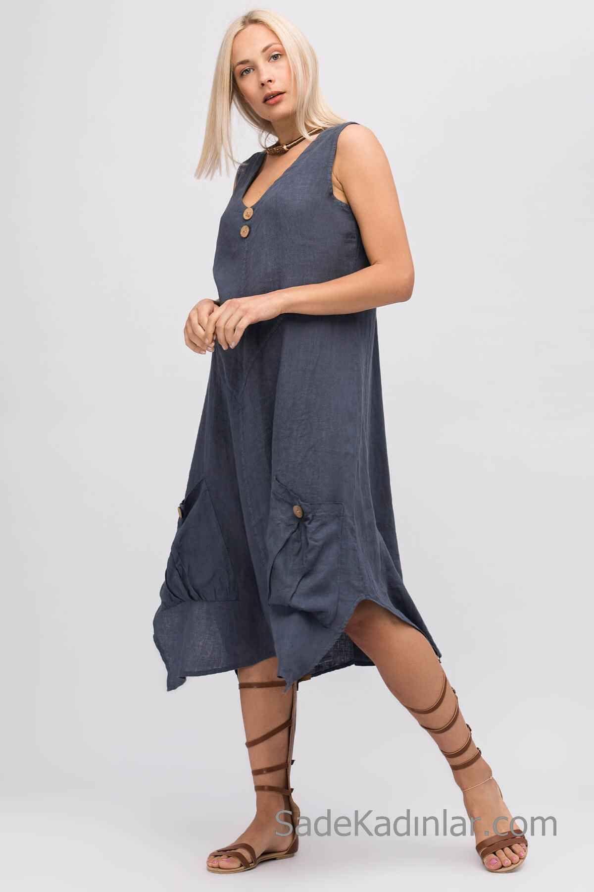 Keten Elbise Modelleri Lacivert Midi Kolsuz V Yakalı Düğmeli Cep Detaylı