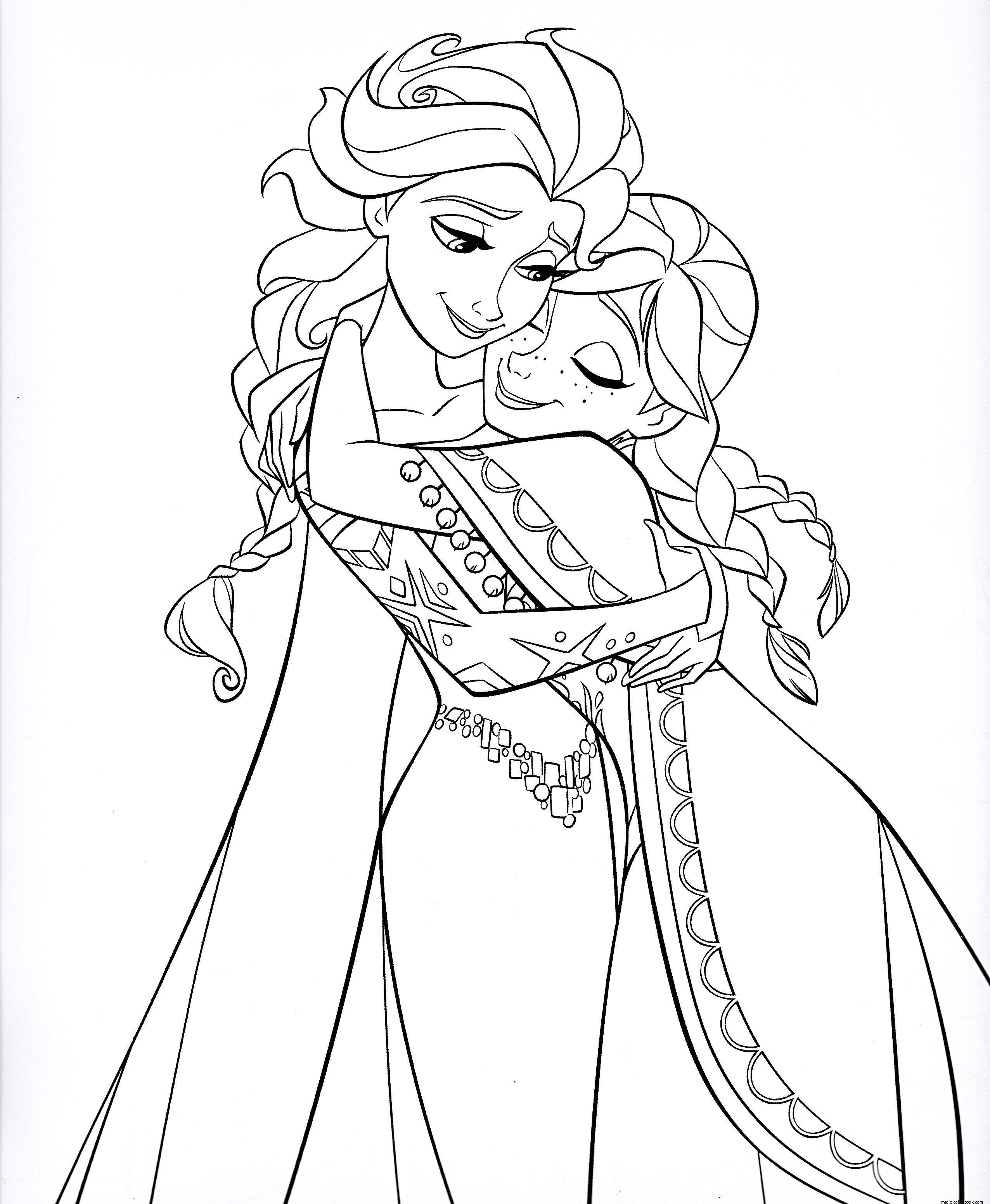Frozen Sisters Elsa Queen Coloring Pages Online Free Holiday Nail