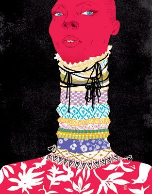 Fashion Illustration - by Marcos Chin - monstylepin #fashion #illustration #marcoschin #print #graphic #portrait