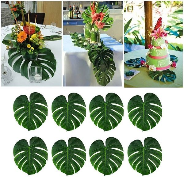 12Pcs Artificial Tropical Palm Leaves Simulation Leaf For Hawaiian Luau Party Jungle Decoration #hawaiianluauparty