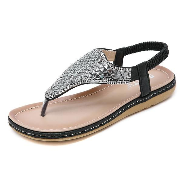 2b4a3db82 2019 Women s Sandals Bohemian Diamond Large Size Toe-clip Beach Shoes  AVAILABILITY Many in stock