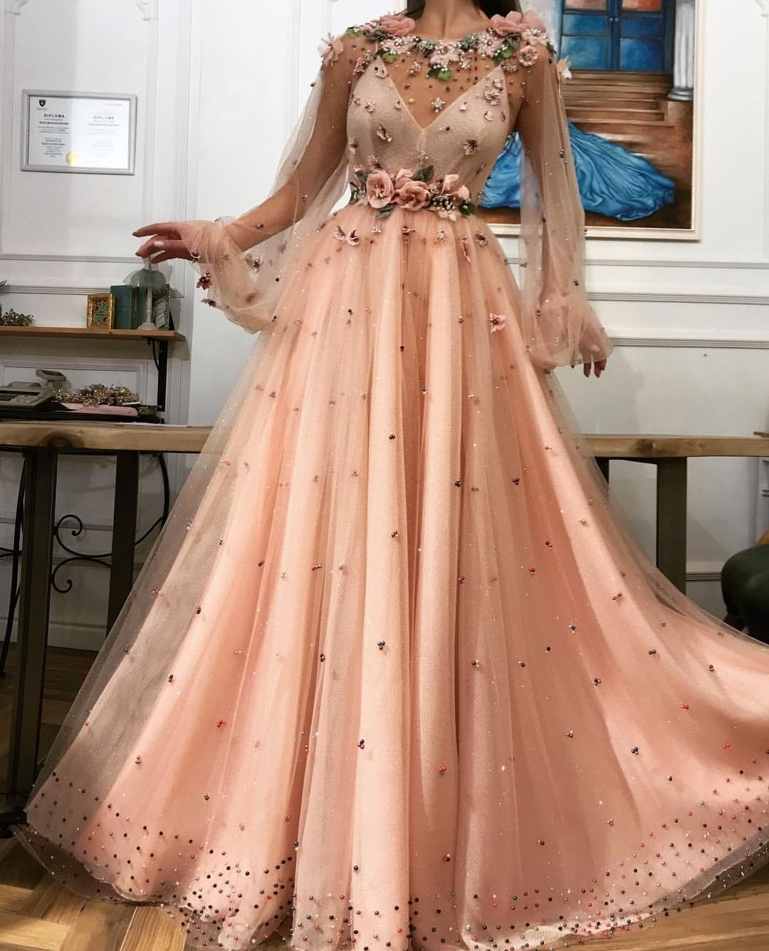 bbb093900588 Illusion Champagne Flower Appliques Prom Dress