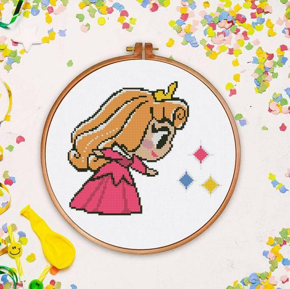 Tiny Aurora cross stitch Disney princess nursery fairy counted Silhouette baby sleeping beauty - Cross Stitch Pattern (Digital Format - PDF) #stitchdisney