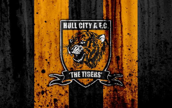 Download Wallpapers 4k, FC Hull City, Grunge, EFL