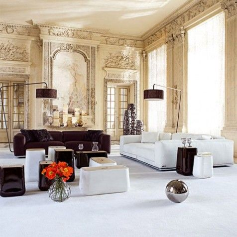 Ancien interior with modern furnishings classical french