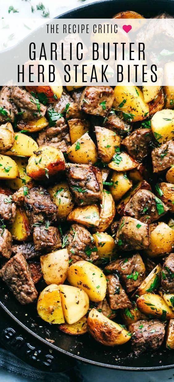 Garlic Butter Herb Steak Bites with Potatoes | The Recipe Critic